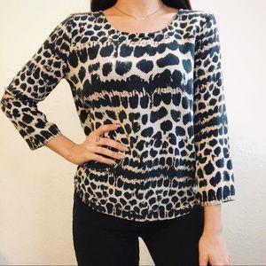 Anthro Maeve Silk Cheetah Print Blouse